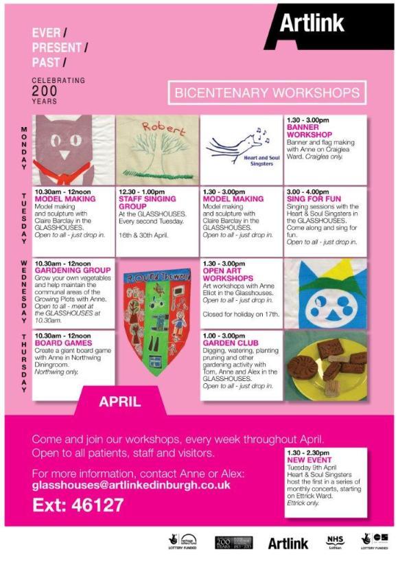 April Workshop Programme