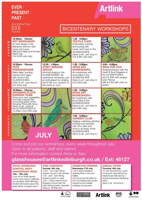 July Workshop Programme